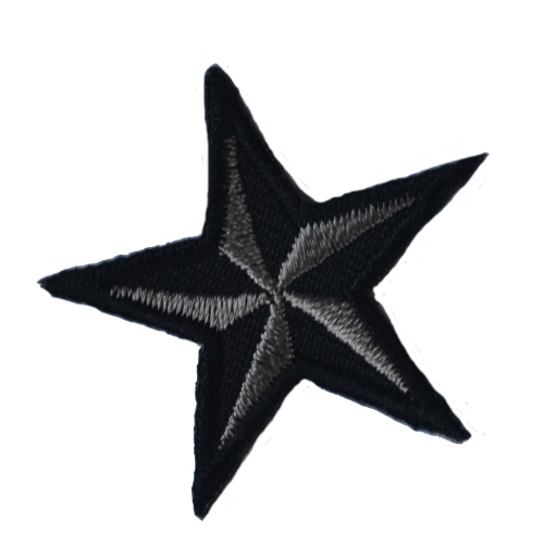Grey Star Iron On Patch