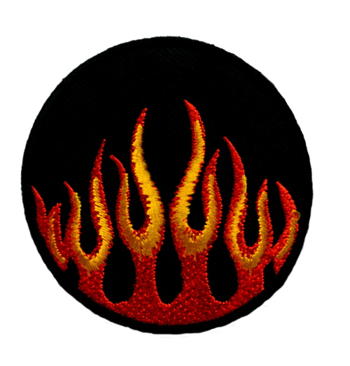 Flames Round Iron On Patch