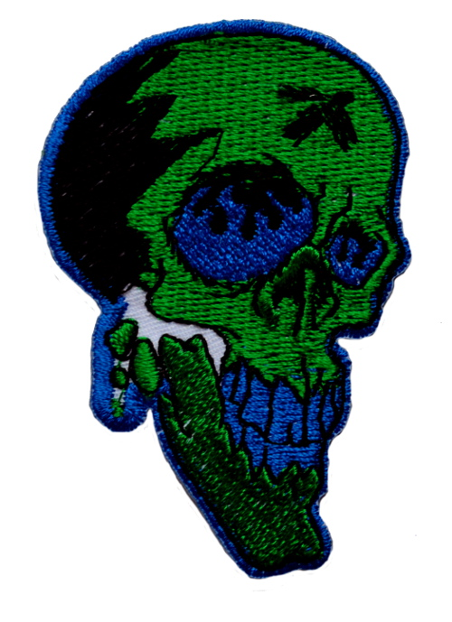 Green Skull Iron On Patch