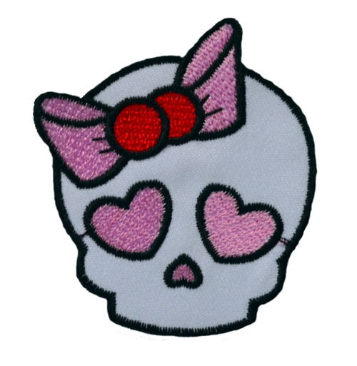 Skull With Bow Iron On Patch