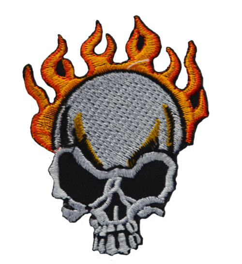 Flaming Skull Iron On Woven Patch