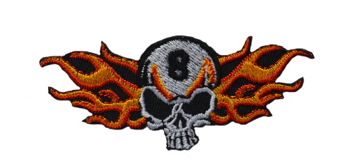 8 Skull Side Flames Iron On Patch
