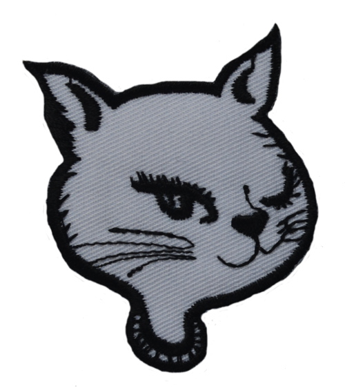 White Cat Face Iron On Patch