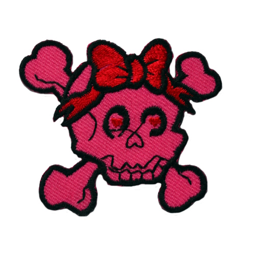 Pink Skull Bow Iron On Patch