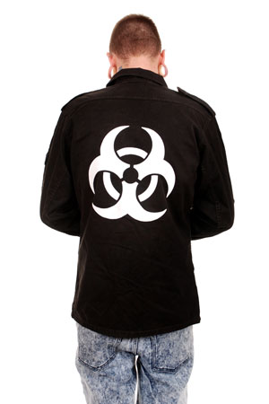 Bio Hazard Black OverDyed Ex Army Flak Jacket