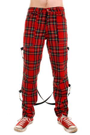 Tartan UK Punk Bondage Trousers with Straps.