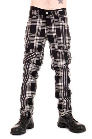 Black and White Zip Bondage Tartan Pants