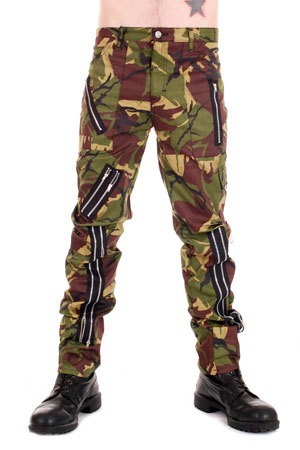 Zip Bondage Camouflage Cotton Pants
