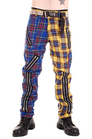 Blue and Yellow Zip Bondage Tartan Split Leg Pants