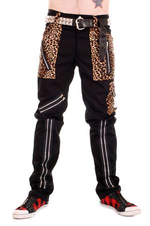 Black Cotton Zip Bondage Pants With Leopard Pockets