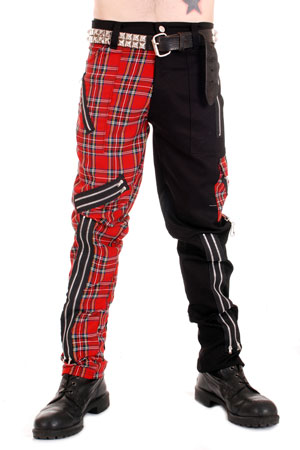 Black and Red Tartan Split Pants