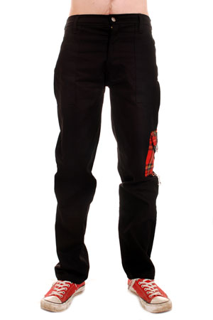 Black Cotton Work Pants with Red Tartan Tiger Side Pocket.