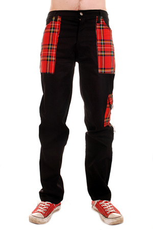 Black Cotton Work Pants With Red Pockets