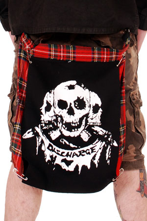 Tartan Bumflap with Three Discharge Skulls Print