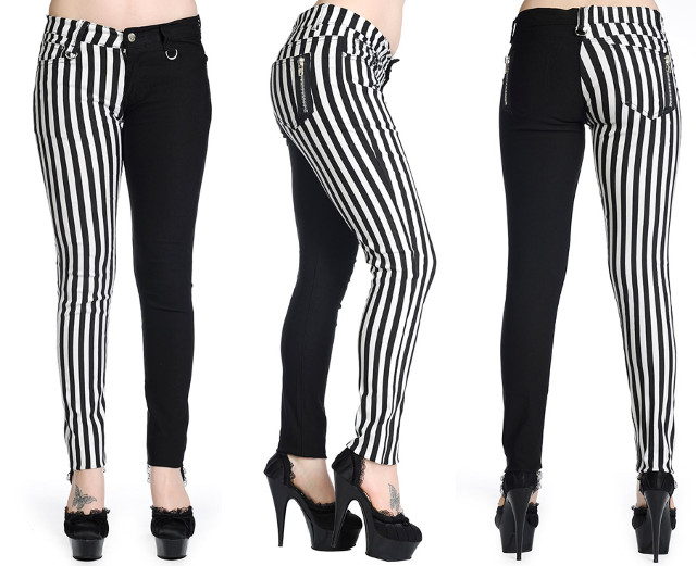 Banned Clothing Punk Skinny Jeans Black/White Stripe