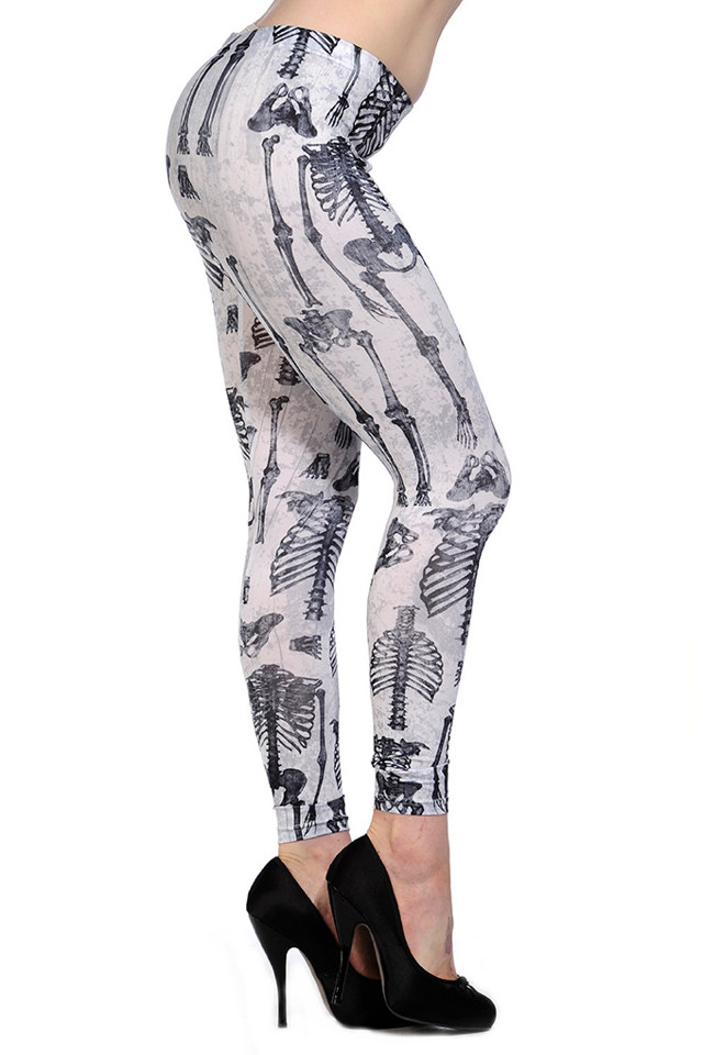 Banned White Skeleton Leggings