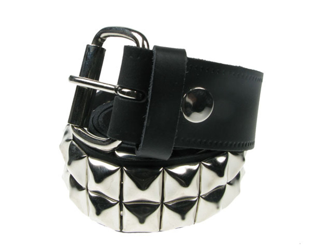 2 Row Pyramid Leather Belt