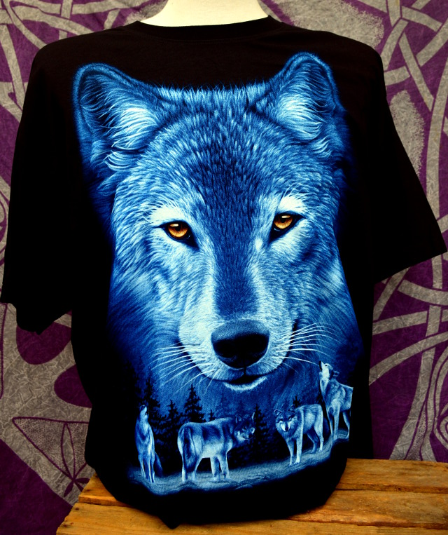 Double Print Blue Wolf Face T-Shirt
