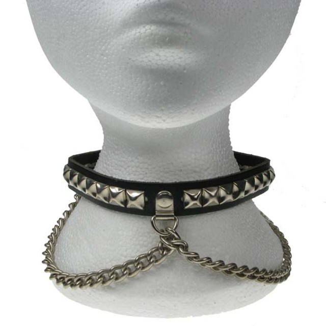 1 Row Pyramid Studded Dog Collar With Chain