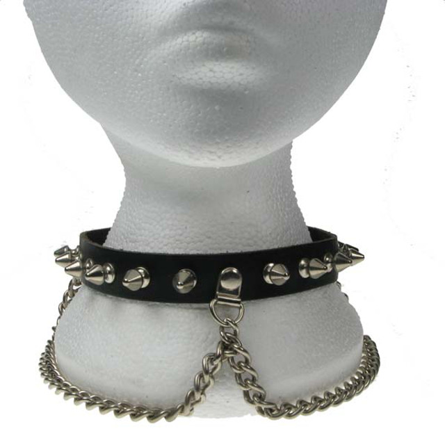 1 Row Spike And Chain Neck Band/Dog Collar