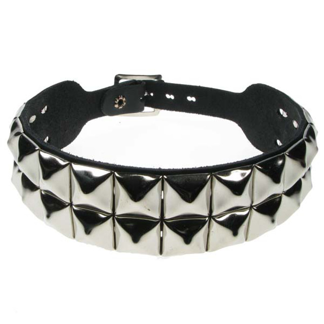 2 Row Pyramid Studded Dog Collar/Neckband