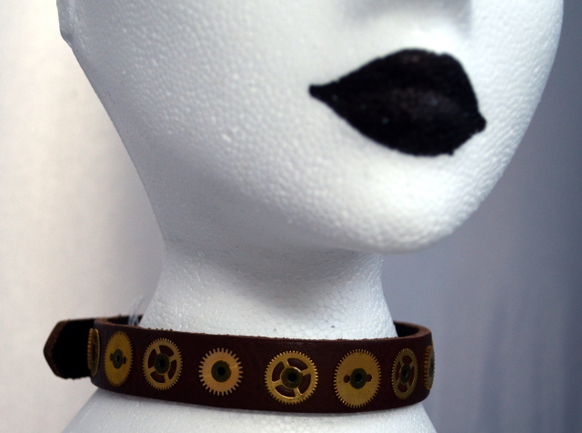 Steampunk Brown Cog Choker