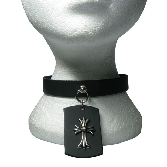 Plain Leather Dog Collar/Neckband With Crucifix