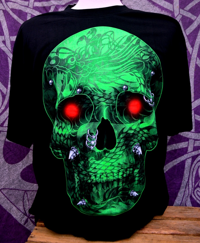 Double Print Green Skull T-Shirt