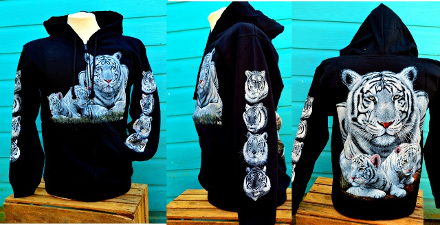 White Tiger Zip Double Print Hoodie