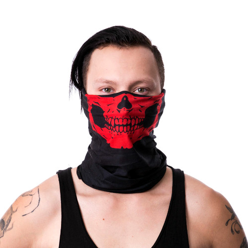Poizen Industries Red Snood Skull Bandana