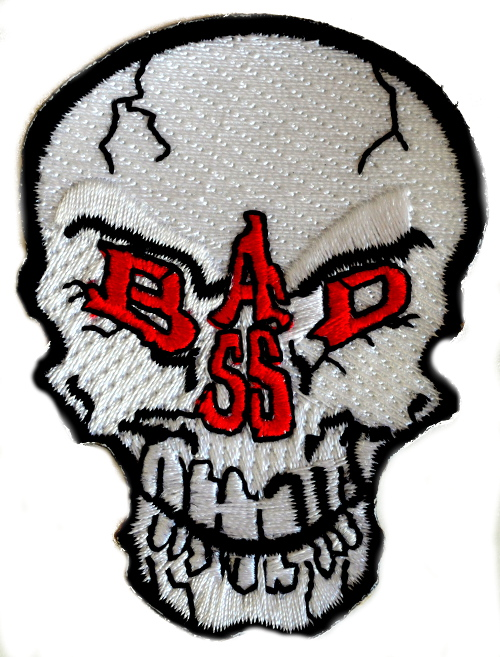 Bad Ass Skull Iron On Woven Patch