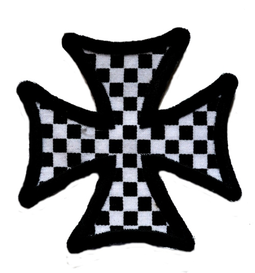 Checker Maltese Cross Iron On Patch