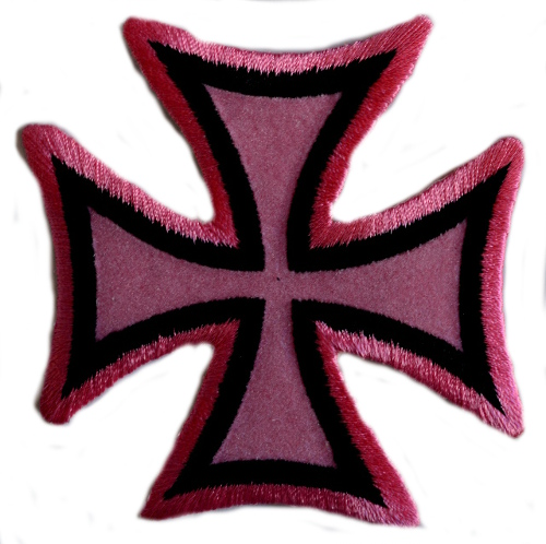 Maltese Cross - Pink Iron On Woven Patch