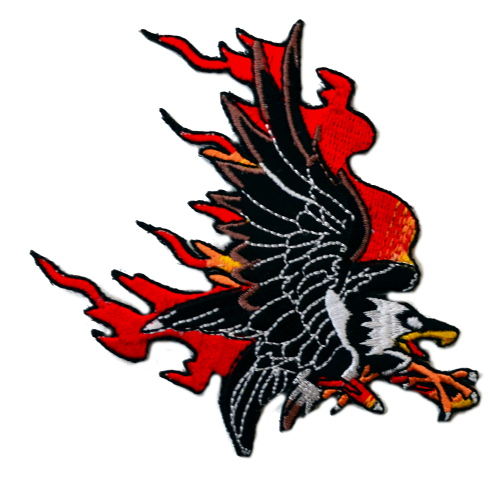 Flaming Eagle Iron On Woven Patch