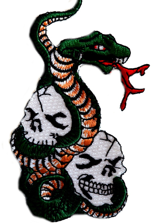 Snake And Skulls Iron On Woven Patch
