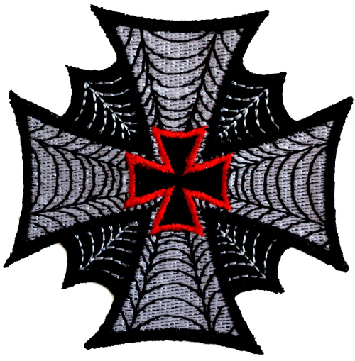 Maltese Cross Web Effect Iron On Woven Patch