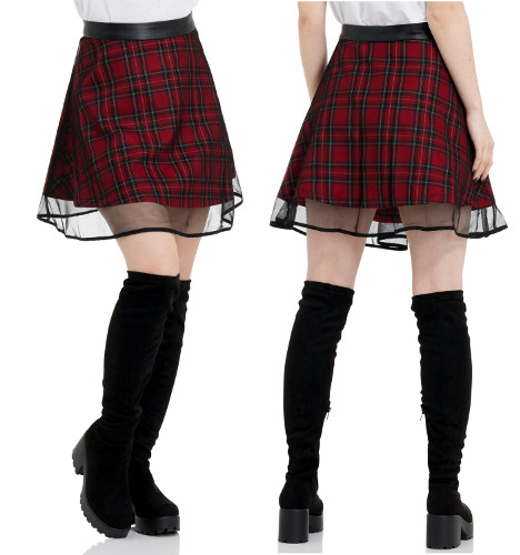 Tartan Two Layer Mesh Skirt - Click Image to Close