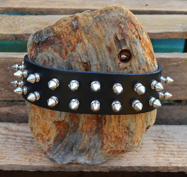2 Row Spike Stud Leather Dog/Neck Collar