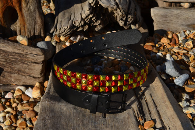 Red And Gold Metallic 3 Row Pyramid Stud Belt