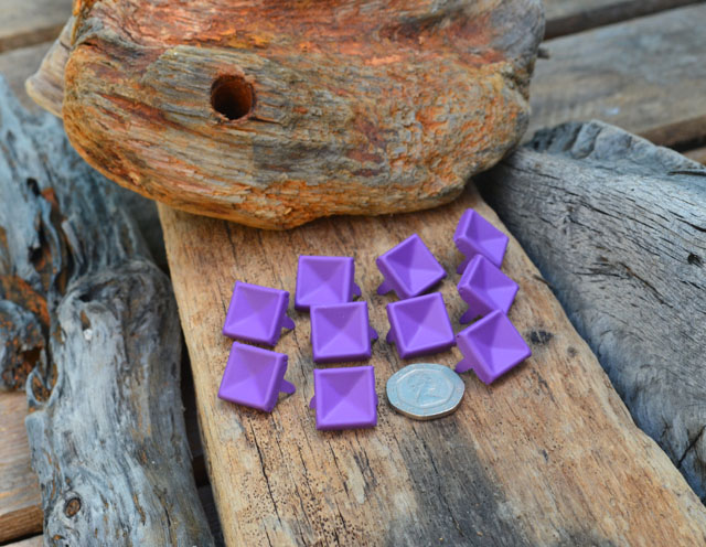 Large Indented Purple Pyramid Studs