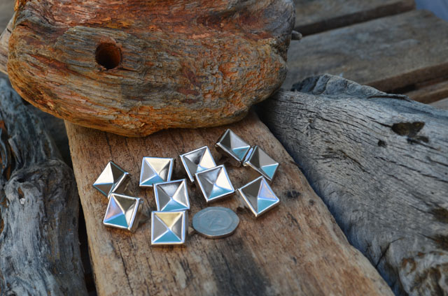 Large Indented Silver Pyramid Studs