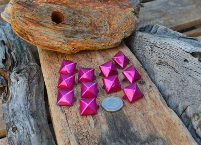 Large Pink Metallic Pyramid Studs