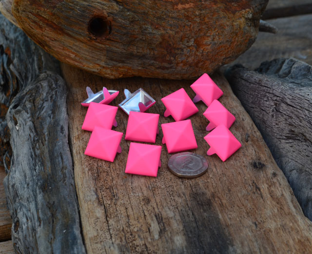 Large Pink Pyramid Studs