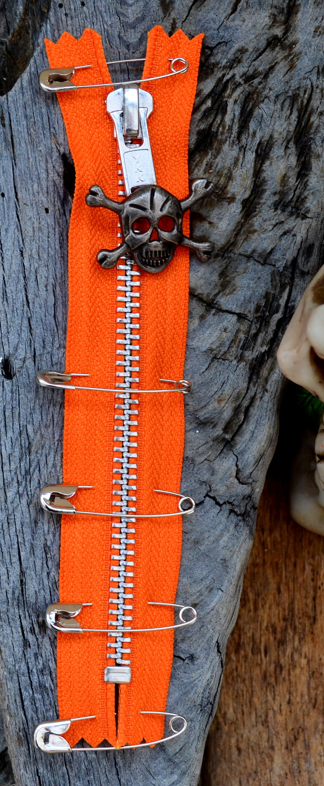 ORANGE PUNK ZIP With Skull Puller